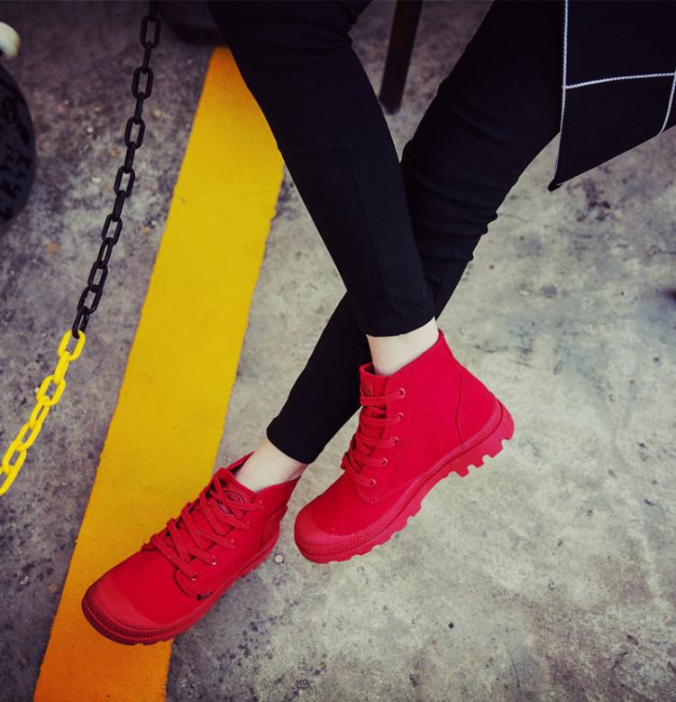 帕拉丁同款经典款高帮小白帆布鞋