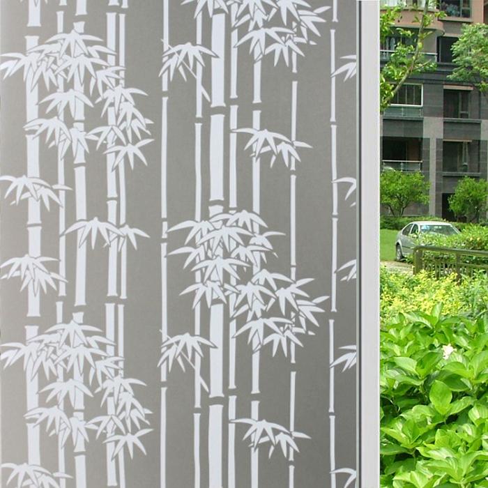 加厚窗户贴纸不透明磨砂玻璃贴膜-中式竹子