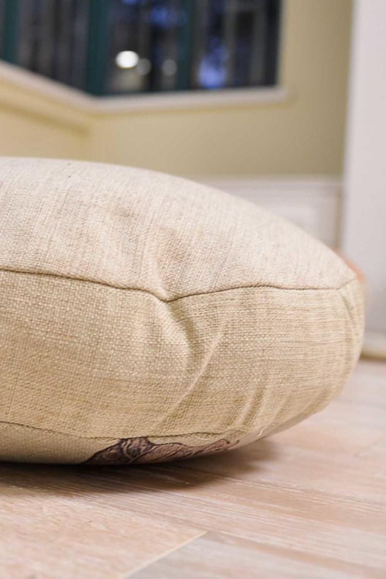 中式莲花棉麻圆形抱枕 沙发办公室圆坐垫靠背飘窗垫