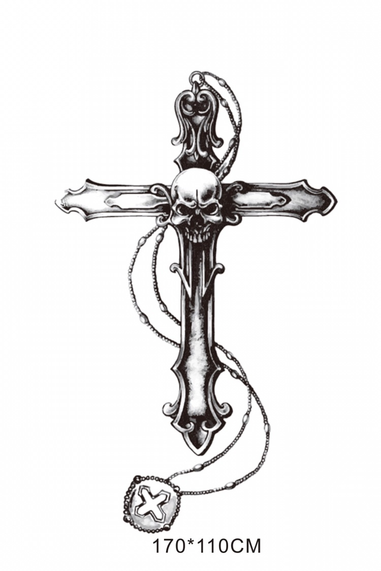 old school 欧美骷髅十字架纹身贴 买一送一 (750x1122)