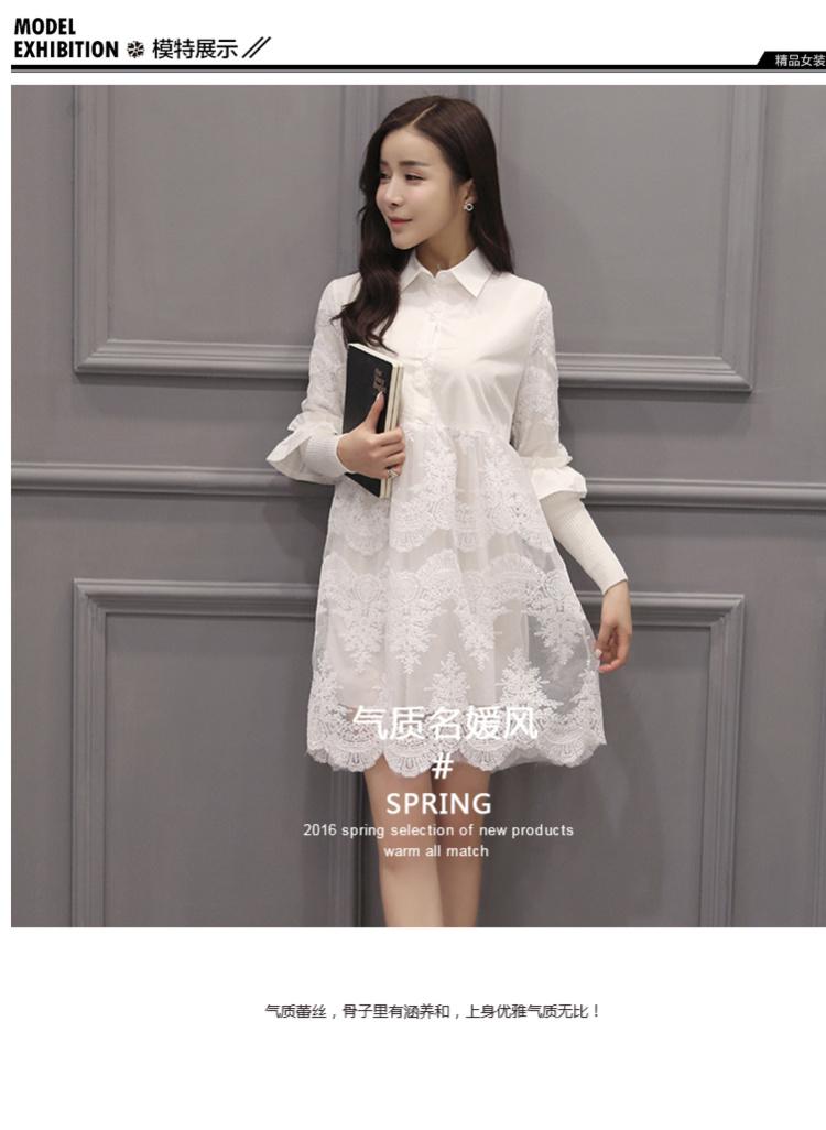 2016春季新款衬衫长袖连衣裙图片