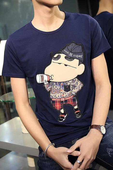 【纯棉刺绣蜡笔小新卡通图案短袖t恤】-男装-t恤