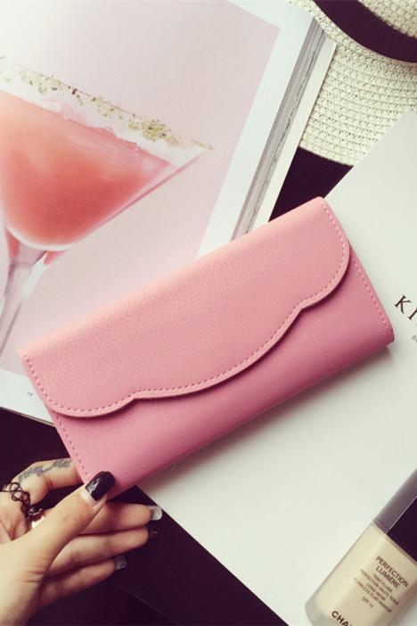 【纯色甜美花边钱包】-包包-女包