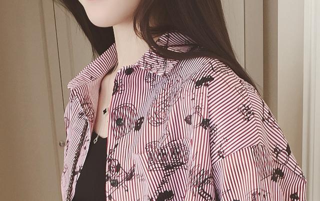 韩版清新手绘印花条纹衬衫