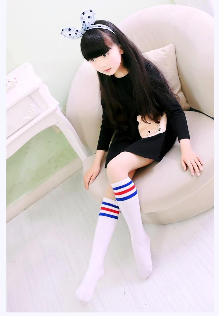 【条纹长筒袜】儿童足球袜子批发 韩国全棉无跟条纹中高筒公主袜