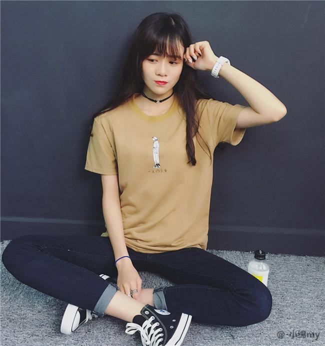 【手绘插画女孩糖果色短袖t恤】-衣服-服饰鞋包