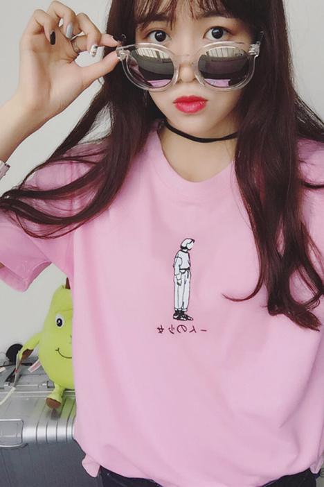 【手绘插画女孩糖果色短袖t恤】-衣服-服饰鞋包_女装
