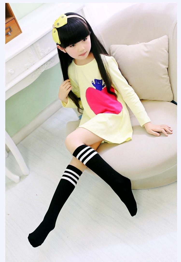 【条纹长筒袜】女宝宝足球袜子 韩国全棉无跟条纹中高筒公主袜