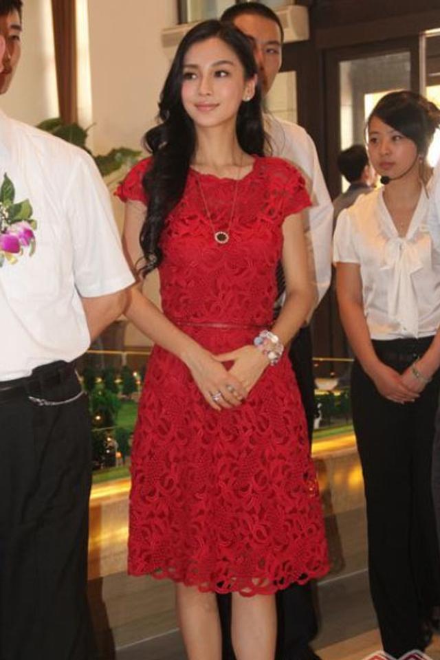 【杨颖同款短袖红色礼服连衣裙】-衣服-连衣裙_裙子