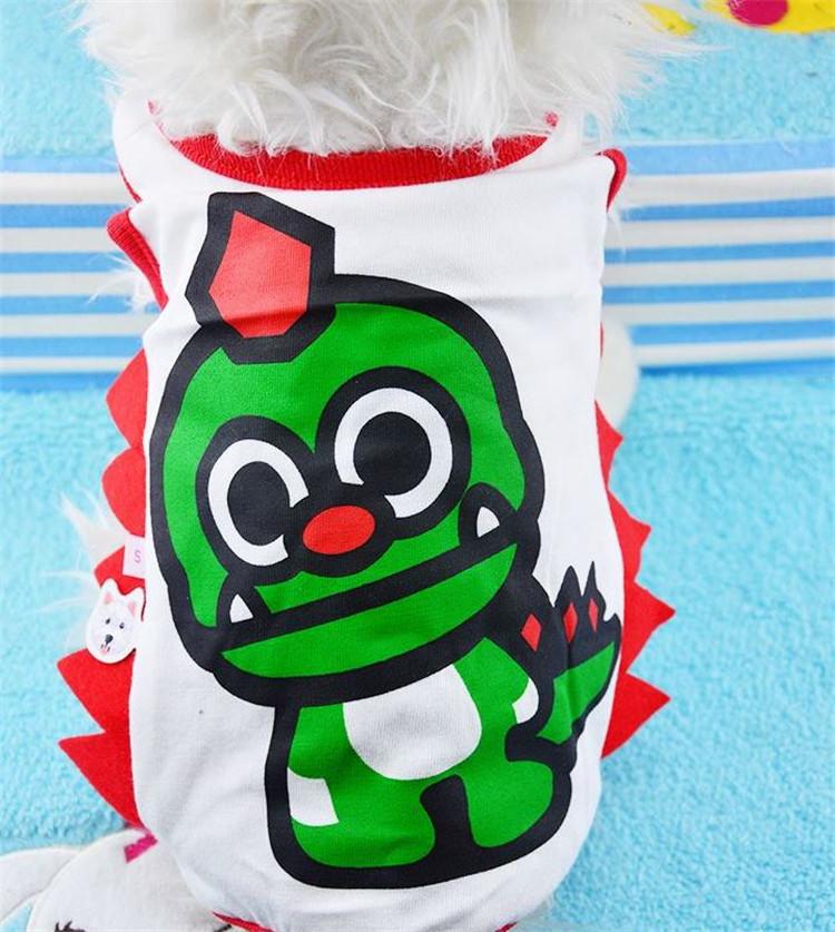 【宠物用品狗狗猫咪春夏装薄款卡通唐老鸭恐龙背心狗