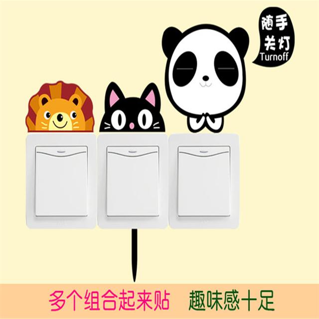 【韩国新款客厅卧室创意卡通动物贴纸】-衣服-文具纸