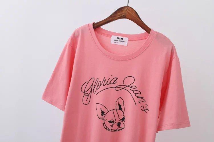 韩版卡通圆领可爱小法斗简笔画短袖t恤