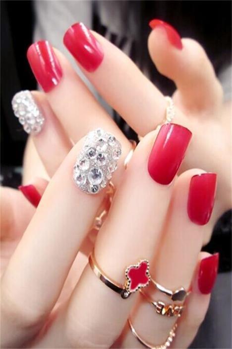 【红色闪钻短款 新娘美甲贴片】-包包-饰品/流行首饰