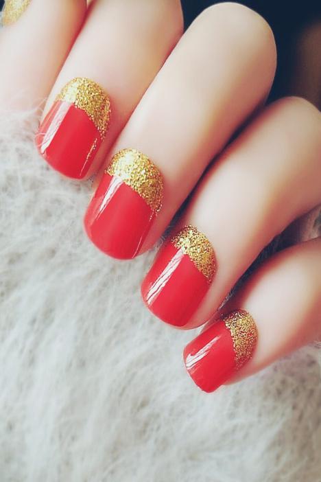 【红色金边短款法式美甲】-配饰-饰品/流行首饰/时尚