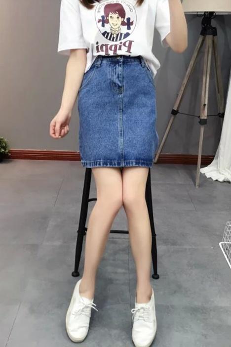 韩版牛仔半身裙】-衣服-半身裙