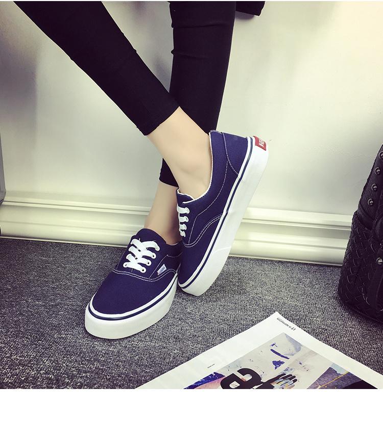 【韩国exo郑秀晶同款黑色系带板鞋】-帆布鞋