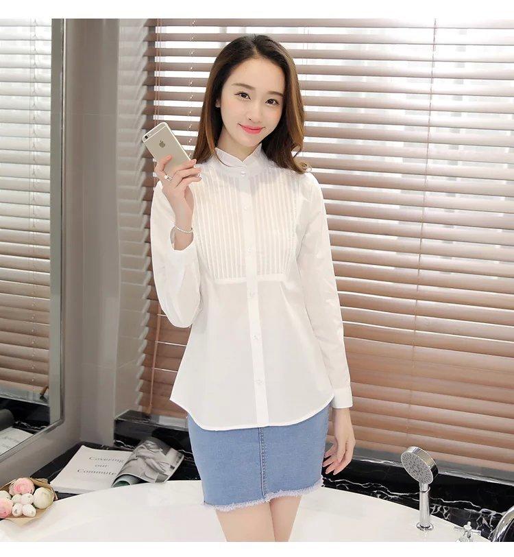 【韩版花边领百褶气质纯色白衬衫】-衣服-衬衫