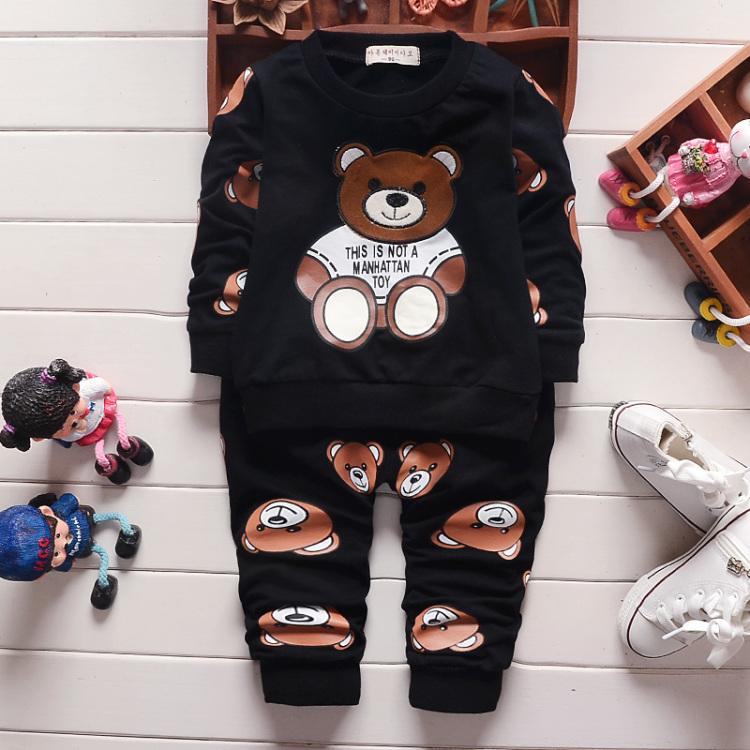 2016春季新款韩版英伦可爱小熊儿童套装