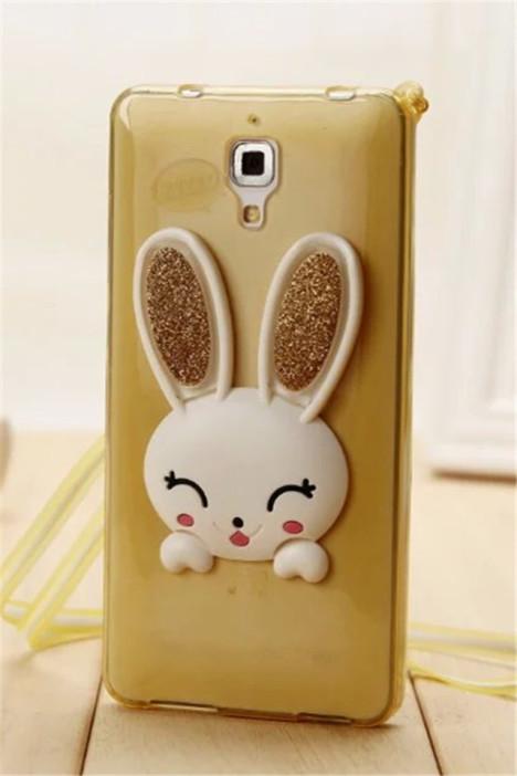 【小米4手机壳米4小白兔兔壳耳朵支架挂绳送保护壳】