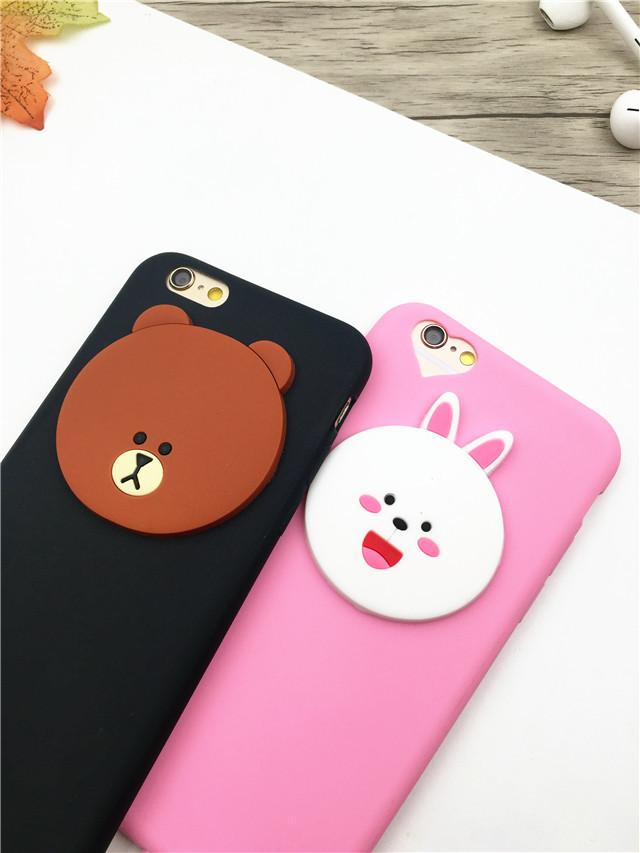 可妮兔布朗熊iphone6s手机壳苹果6plus立体硅胶外壳