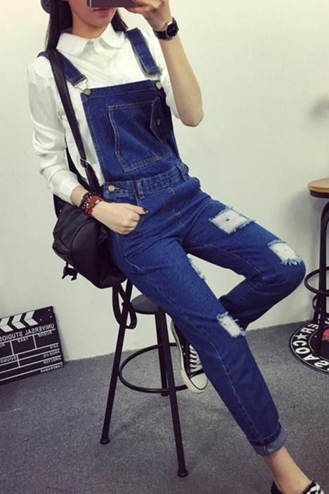 【深蓝色破洞直通背带裤】-衣服-连体裤