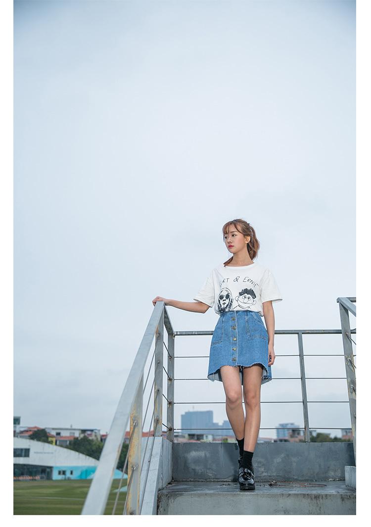 【原宿风学生卡通人物字母印花短袖t恤】-t恤