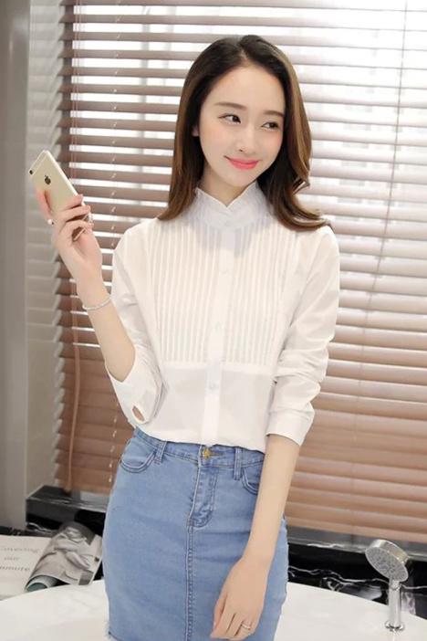 【韩版花边领百褶气质纯色白衬衫】-衣服-服饰鞋包