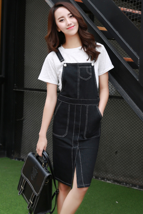 【2016新款青春减龄黑色牛仔背带裙】-衣服-连衣裙