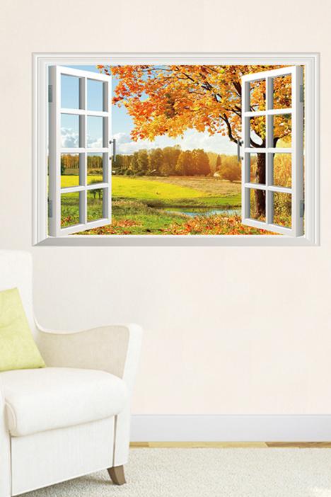 诗意卧室客厅装饰墙贴画风景假窗-秋意无边
