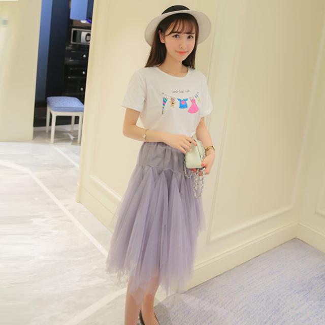 【卡通短袖t+网纱半身裙套装】-衣服-服饰鞋包