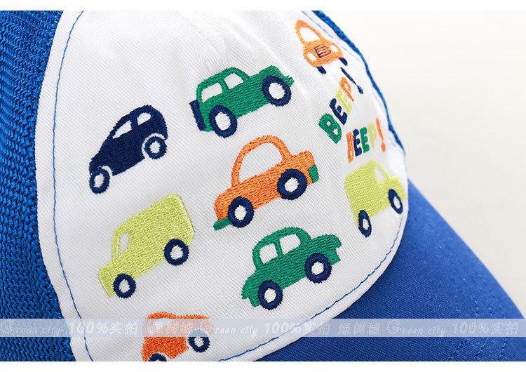 童帽幼儿宝宝小童男童棒球帽夏季 小汽车儿童出游春游帽子春季