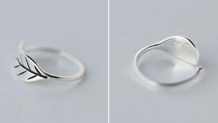 s925复古泰银树叶开口戒指
