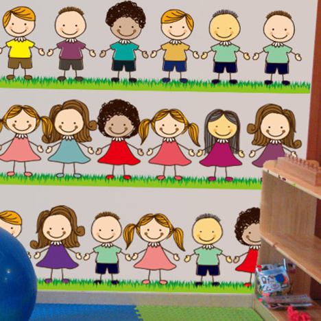 可爱小朋友手拉手幼儿园开学墙贴画卡通小孩客厅卧室墙贴防水贴纸