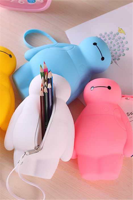 可爱大白笔袋软硅胶大容量文具盒笔盒铅笔袋韩国文具简约学习用品