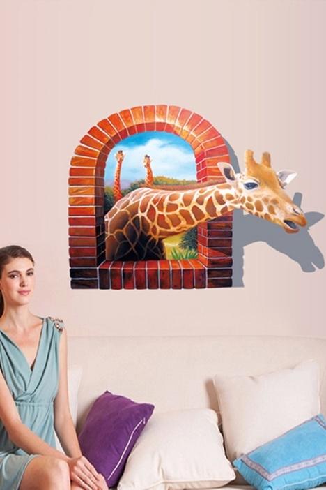 家装3d长颈鹿墙贴画立体画