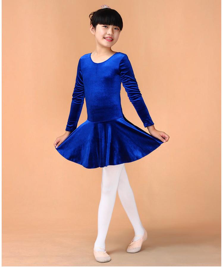 金丝绒儿童芭蕾舞裙练功服芭蕾服装形体服舞蹈裙连衣裙